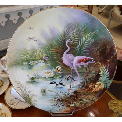 Dish With Flamands Roses, Dragonfly And Water Lilies, Porcelain Hand Painted, Limoges, XIX
