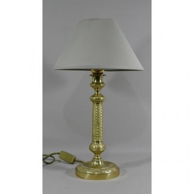 Lampe époque Restauration En Bronze Doré Ciselé, Début XIX ème