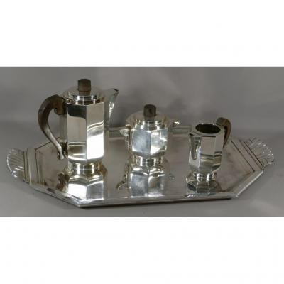 Art Deco, Tray And Coffee Service Or Tea In Silver Metal