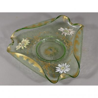 Montjoye, Legras, Polylobed Glass Cup Enamelled Flowers And Gilding