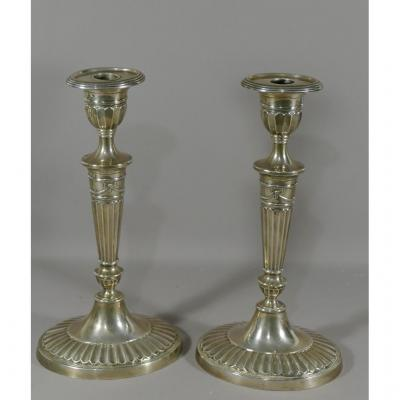 Pair Of Candlesticks In Sterling Silver Louis XVI Style, Sterling Usa