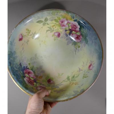 Large Cup, Salad Bowl, Porcelain Bowl Hand Painted Rose Flowers