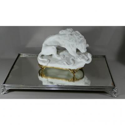 Grand Surtout, Centre De Table En Bronze Argenté Et Fond De Miroir, époque XIX ème