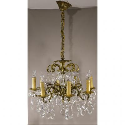 Chandelier In Bohemian And Bronze Crystal Boards, 8 Lights, Time Around 1960