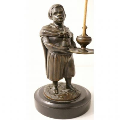 Statuette En Bronze, Porte Encens, Homme Noir, Nubien, époque XIX ème Siècle
