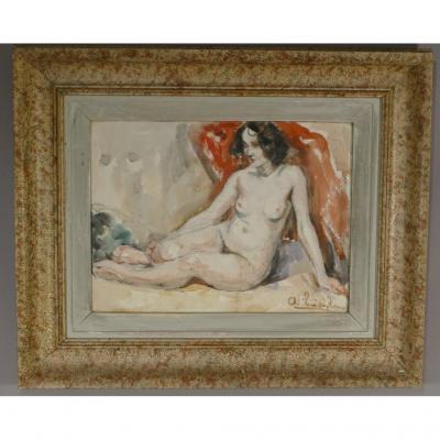 Nu Féminin, Aquarelle Signée Et Encadrée Cadre Moucheté, époque Vers 1940-1950