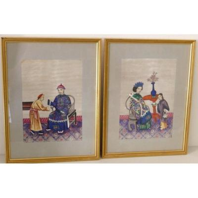Pair Of Paintings, Gouache Painting On China Rice Paper, Nineteenth Century Era