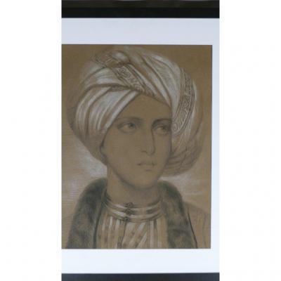 Orientaliste, Jeune Homme Au Turban, Dessin Fusain Et Craie, Milieu XIXème