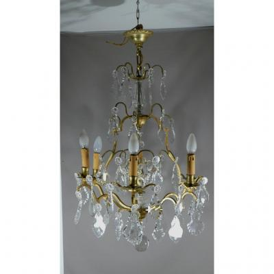 Chandelier Crystal And Bronze Pendants, Cage Shape, 6 Lights, Early Twentieth Time