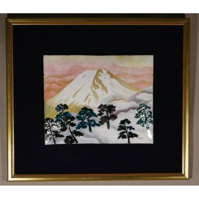 Large Enamel Plate From Limoges, Mount Fuji By Man, 1950s