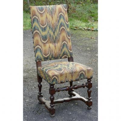 Louis XIII Walnut Chair, XVII Century, National Furniture Fabric
