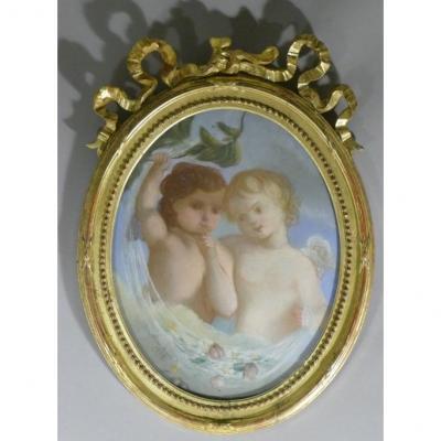 Pastel XIX, Two Angelots Signed Cécile Boisard, 1863, Louis XVI Frame