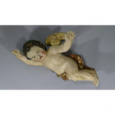 Ange Angelot d'Applique En Bois Sculpté, Polychrome Et Doré, époque XVII ème