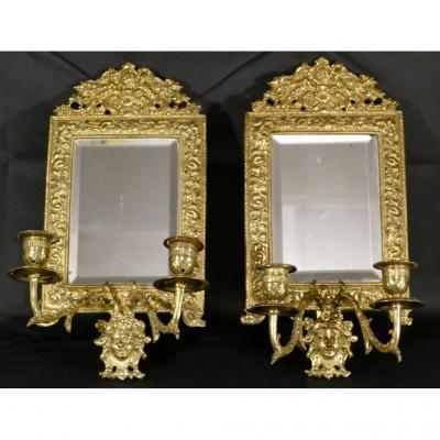 Paire De Double Appliques à Miroir Napoléon III En Bronze Doré, Mascaron , XIX ème