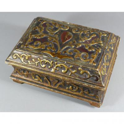 Box Wooden Carved Gilt And Polychrome Nineteenth Time