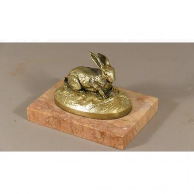 Bronze Animalier, Statuette Lapin à La Carotte Et Salade, Dans Le Goût De Mène, Barye, XIX ème