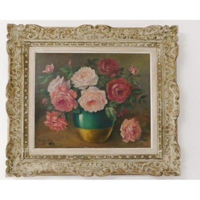 Les Roses, Huile Sur Panneau Signée X Quatter, Datée 1929, Cadre Montparnasse