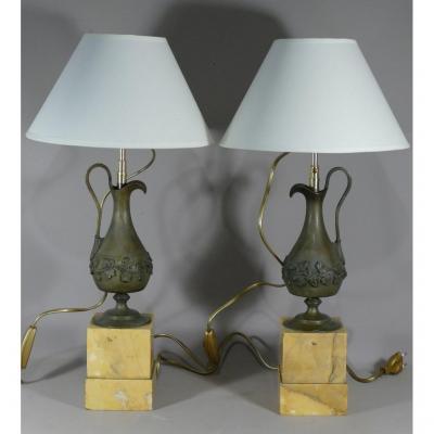 Paire De Lampes Charles X, Aiguières En Bronze Et Socle Marbre Sienne, XIX ème