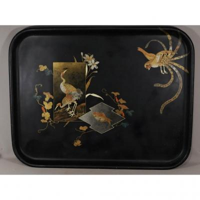 Very Large Napoleon III Lacquered Tray Decor With Cranes, Koi Carp And Bird, Boiled Cardboard