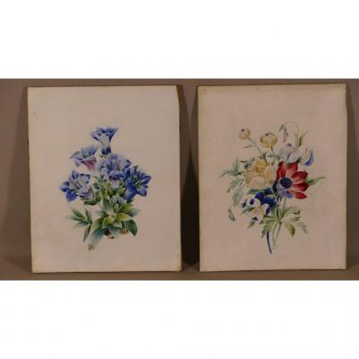 Pair Of Gouaches On Velin, Bouquets Of Flowers, Charles X Period