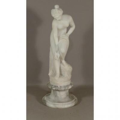 Alabaster Sculpture, Venus In The Bath, After Allegrain, XIX