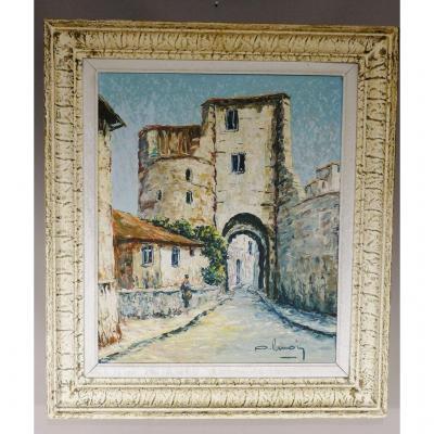 Cordes Sur Ciel, Porte Des Ormeaux, Oil Painted On Canvas, Middle Twentieth