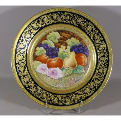 Leroussaud, Large Collection Plate Hand Painted With Fruits And Fine Gold Inlay