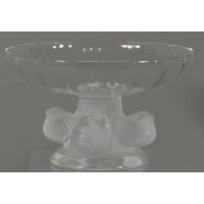 Lalique, Coupe Nogent En Cristal Aux Oiseaux