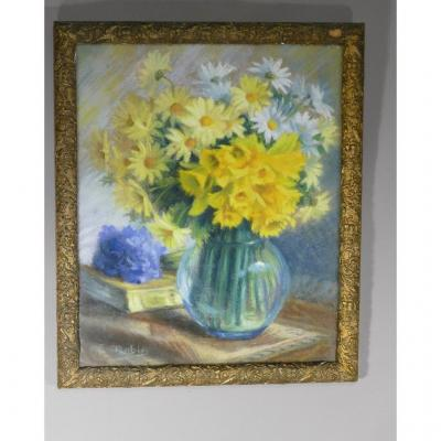 Long Live Spring !! Daffodils And Daisies, Still Life In Pastel, Signed E Robin