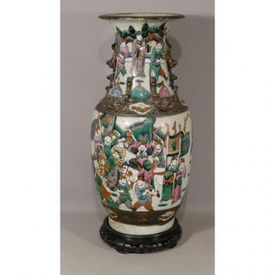 China, Nanjing, Large Cracked And Enamelled Ceramic Vase With Characters, XIXth Time