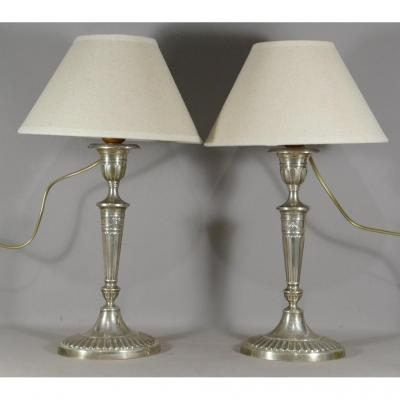 Candlestick Lamps In Sterling Silver, Louis XVI Style, Late XIXth