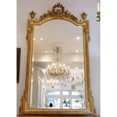 180 * 105 Cm, Very Large Mirror In Louis XVI Style In Wood And Golden Stucco, Napoleon III