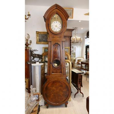 Important Parquet Clock In Walnut, Very Original Shape, XIXth Time