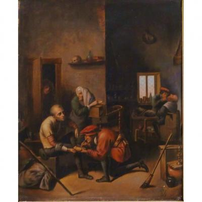 The Village Surgeon, Oil On Copper XVIIIth Century