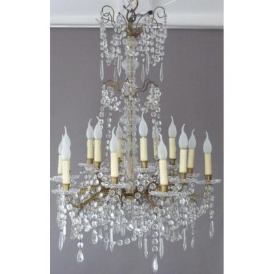 Baccarat, XIXth Chandelier In Signed Crystal And Bronze, 18 Lights, Tassels, Napoleon III