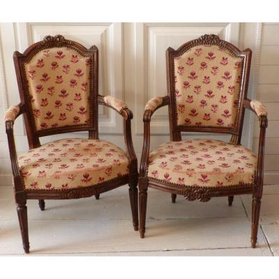 Pair Of Armchairs Cabriolets XVIII, Louis XVI Stamped Julienne D.