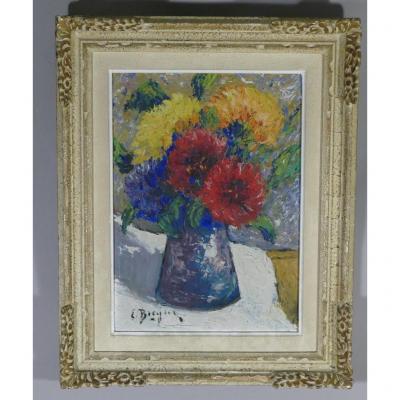 Nature Morte, Bouquet De Fleurs, Huile Sur Isorel, Signé, époque Milieu XX ème