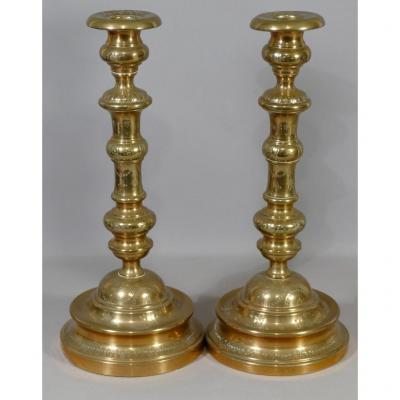 Pair Of Louis Philippe Torches In Engraved Golden Copper, Around 1840