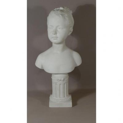 Buste De Louise Brongniart Par Houdon, Biscuit De Porcelaine, Manufacture De Villenauxe, XIX è