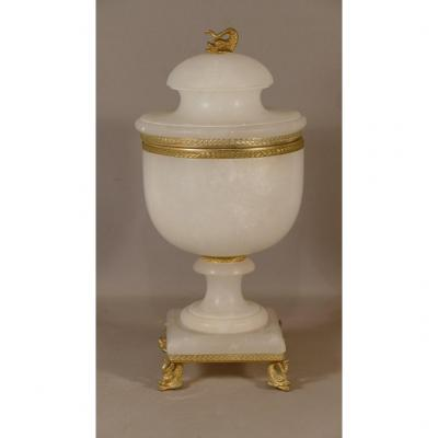 Cassolette In Alabaster And Golden Brass, Italy, Middle Twentieth