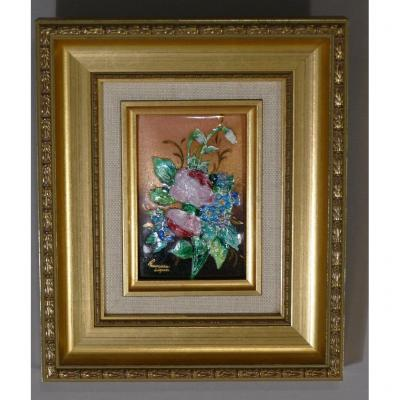 Bouquet Of Flowers, Limoges Enamel, Enamel On Copper, Signed Françoise