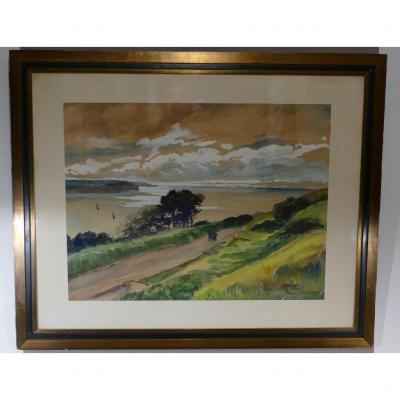Fécamp, Côte De La Vierge 1935, Large Watercolor Signed Plerec?