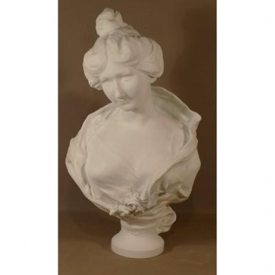 Raoul Verlet, Biscuit Sculpture, Bust Of A Young Woman, Limoges, End XIX