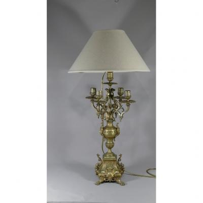Chandelier Lamp In Varnished Gilt Bronze, Napoleon III Period