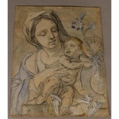 Francesco Trevisani After, Virgin And Child, Enhanced Pencil Drawing, XVIIIth Century?