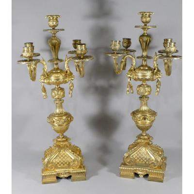 Paire De Candélabres, Chandeliers Aux Mufles De Lion, Style Louis XVI, Napoléon III