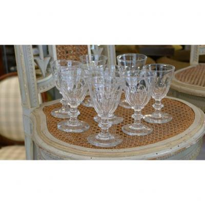 8 Wine Glasses Cooked In Cut Cut Crystal, XIXth Time