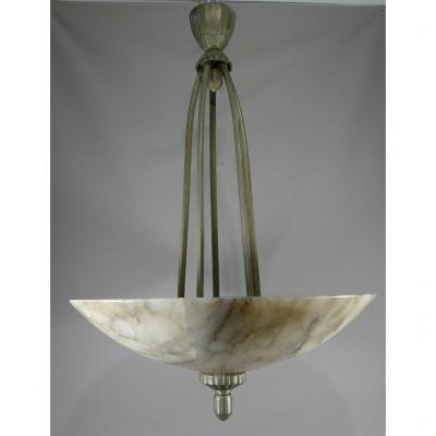 Art Deco Chandelier In Alabaster And Silver Or Nickel Plated Bronze, Circa 1930