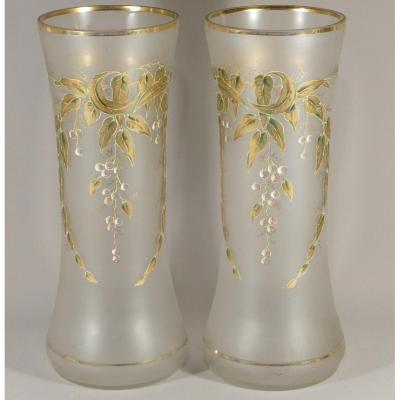 Pair Of Golden Glass Vases And Enamelled With Leaves And Fruits, 1900s