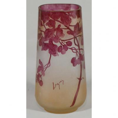 Legras, Ruby Vase Height 20 Cm In Clear Glass With Acid Around 1900